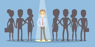 Boss choose employee. Businessman standing in spotlight royalty free illustration