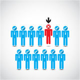Boss choosing the imperfect businessman for layoff. Vector illustration Stock Photo