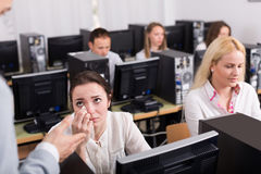 Boss and clerk at open space working area Royalty Free Stock Photography