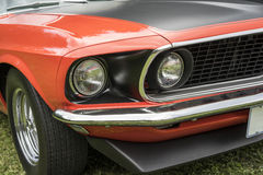 Mustang front end. Close-up of the 1969 Ford mustang boss 302 front end stock images