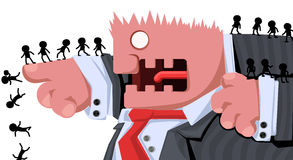 Boss Command. Cartoon character boss commanding, vector illustration, horizontal, , over white Royalty Free Stock Images