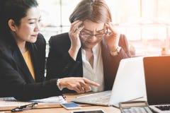 Boss complain to employee. Businesswoman employee stock photo