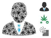 Boss Collage of Weed Leaves. Boss composition of cannabis leaves in variable sizes and color shades. Vector flat cannabis leaves are united into boss mosaic Royalty Free Stock Image