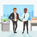Boss congratulating employee with career promotion. Successful deal. Business people shaking hands in office. Window. Table, monitor, stack of paperwork and vector illustration