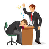 Boss crying at sleeping worker laying on table. Realistic vector royalty free illustration