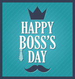 Boss Day greeting template. Blue background, dark blue frame Royalty Free Stock Photo