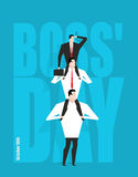 Boss Day. Head sits on subordinates. Festival on 16 October. hie Royalty Free Stock Images