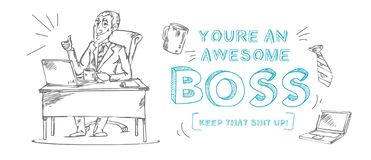 Boss day inspirational and motivational greeting card with inscription. `You are an awesome boss! ` and doodles. Greeting card or print for Boss`s day. Vector royalty free illustration