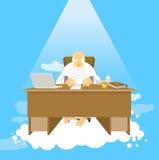 Boss del paraíso Trabajo de dios Todopoderoso del lugar de trabajo en cielo Gra stock de ilustración