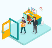 Boss dismissed employee. Isometric 3d vector illustrations Stock Photo
