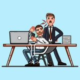 Boss and employee. Boss dissatisfied because the employee does not work well Royalty Free Stock Image