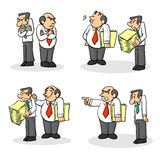 Boss and employee. Four situations of an employer and an employee, mobbing Stock Photos