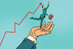 Boss and employee, a businessman on the hand high results stock illustration