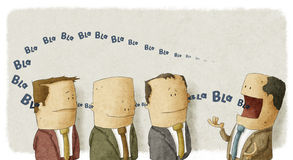 Boss with employees. Illustration of Boss talking at employees Stock Images