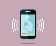 Boss está invitando al teléfono - vector el dibujo de un teléfono móvil de sonido con un jefe gordo Imagen de archivo libre de regalías
