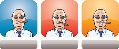 Boss face three expressions vector illustration