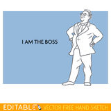 Boss. Fat man. Editable vector icon in linear style Stock Photo