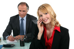 Boss and female assistant Stock Photos