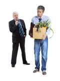 Boss and fired man Royalty Free Stock Photo