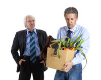 Boss and fired man Royalty Free Stock Photos