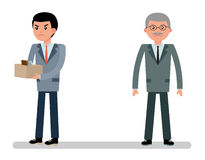 The boss fired a young employee. The young officer angry. Cartoon vector flat-style illustration Royalty Free Stock Photos