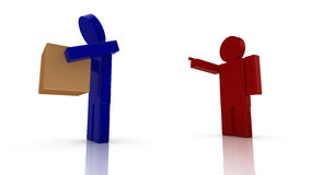 Boss fires a worker. Boss in red fires a worker in blue 3D render illustration Stock Photos