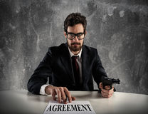Boss forces you to sign an agreement Royalty Free Stock Image