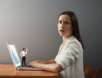 Boss forcing bad worker to work Stock Photos