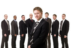 Boss in front of his team Stock Images