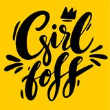 Boss girl hand drawn vector lettering isolated on yellow background royalty free illustration