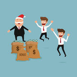 Boss giving big bonus. Christmas and new year. Cartoon Vector Illustration vector illustration