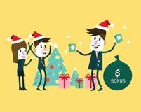 Boss giving big bonus. Christmas and new  year concept. Stock Photo