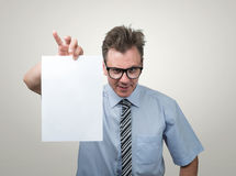 Boss in glasses holding the white paper Stock Image