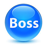 Boss glassy cyan blue round button Stock Photos