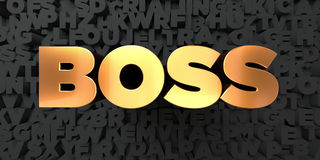 Boss - Gold text on black background - 3D rendered royalty free stock picture Royalty Free Stock Photos