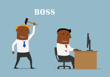 Boss with hammer ready to beat manager Stock Image