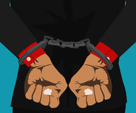 Boss hands handcuffed in the back Stock Photography