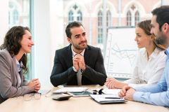 Boss heading a business reunion with partners Stock Photos