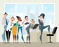 Boss and his employees. Vector illustration of a boss and his employees Royalty Free Stock Photo