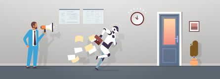 Boss human hold megaphone modern robot running with falling papers from briefcase to door artificial intelligence royalty free illustration