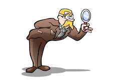 Boss investigation. Illustration of a boss investigating use a Magnifying  glass Royalty Free Stock Image