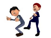 Boss kicking butt. Cartoon boss kicking subordinate in the ass Royalty Free Stock Photography