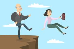 Boss kicks out. Boss kicks out the female employee from the cliff Royalty Free Stock Photos