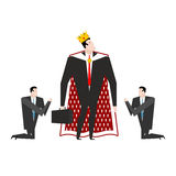 Boss KING Worship. Manager praying to chief. Businessman kneelin Royalty Free Stock Photography