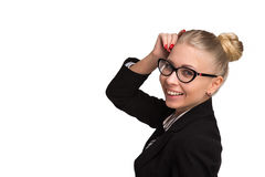 Boss lady in glasses. On white background Stock Image