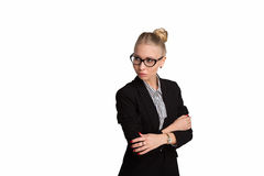 Boss lady in glasses. On white background royalty free stock photos
