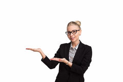 Boss lady in glasses. On white background royalty free stock photo