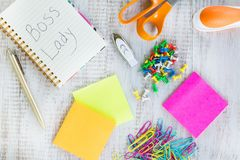 Boss Lady Work Office Desk With Supplies stock photos