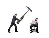 Boss and lazy worker. Angry boss in the suit holding big hammer and screaming at lazy worker. isolated on white background Stock Photography