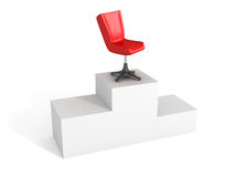 Boss Leader Chair On First Place Podium. Business Success Achivement Concept 3d Render Illustration Royalty Free Stock Images